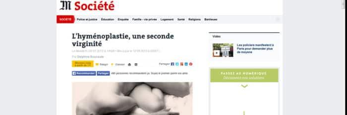 article Le Monde sur l'hyménoplastie