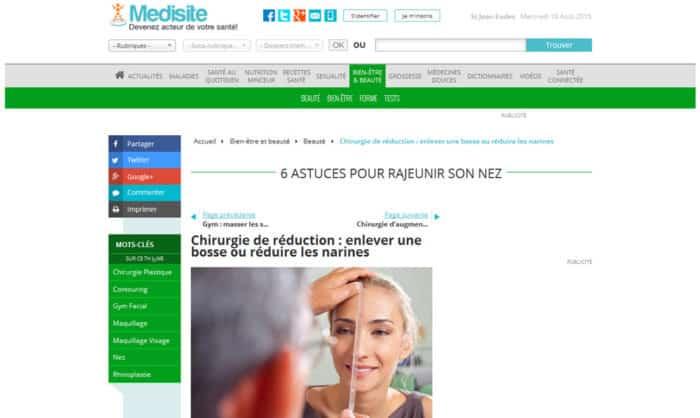 article sur rajeunir le nez, Dr Derhy pour medisite.fr